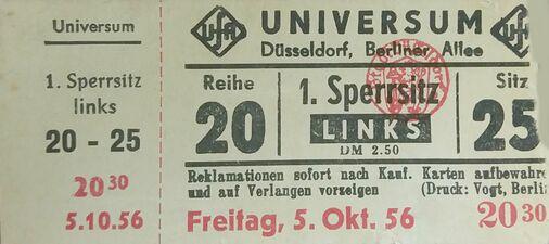 Eintrittskarte des Universum Filmtheaters in Düsseldorf (1956)